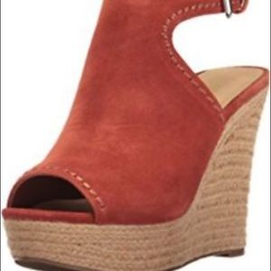 Marc Fisher harli orange suede raffia wedges Sz 9